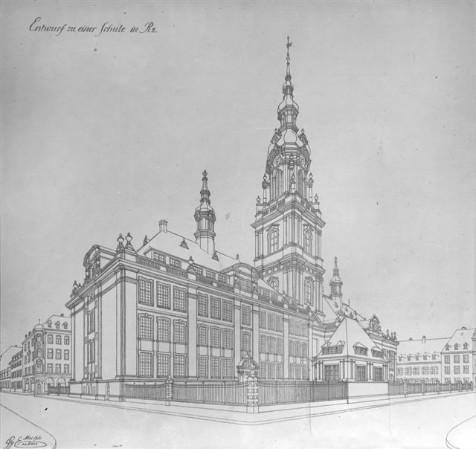 Plan der 1914-17 erbauten Volksschule in R 2